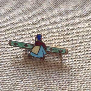 Jewelry - Tiny Enamel Bar Pin Dutch Lady Vintage